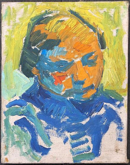 """René Brochard (1926) - Peinture 1950 - """"Portrait de Femme"""""""