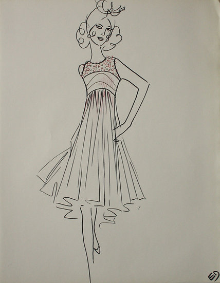 "Jean Eden - Original Vintage Drawing, c.1970 - ""Fashion Sketch"" #24"