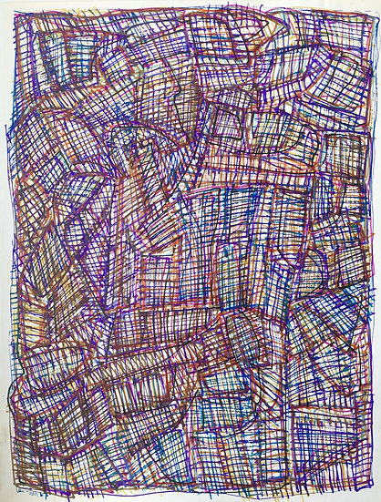 "David Lan-Bar (1912-1987) - ""Abstraction"" - Large Drawing #7"