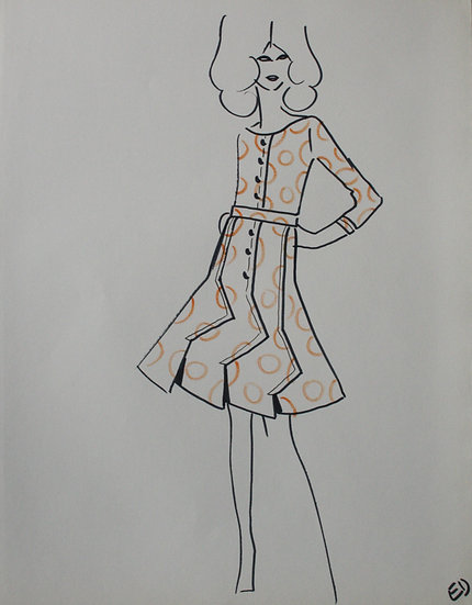 "Jean Eden - Original Vintage Drawing, c.1970 - ""Fashion Sketch"" #5"