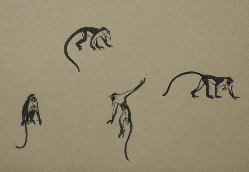 "Vintage Drawing - ""Monkeys"" 1941 #16"