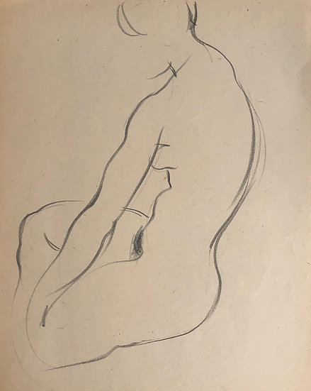 "Cesar Bolletti - Original Vintage Drawing, c.1940 - ""Female Nude Sketch"" #7"