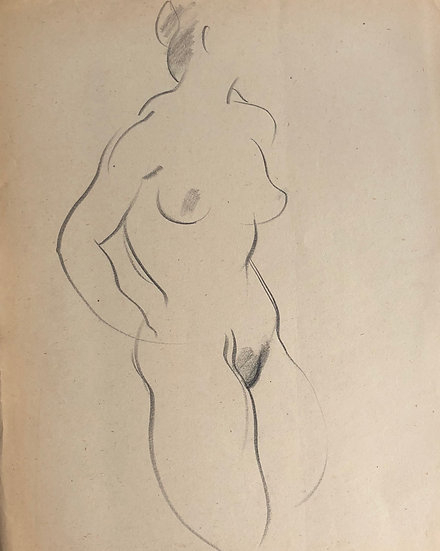 """Cesar Bolletti - Dessin Original, c. 1940 - """"Étude de Nu Féminin"""" #12"""