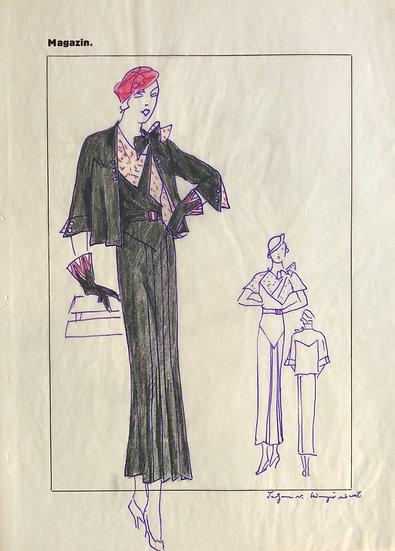 """Dessin Original, Années 1950 - """"Croquis de Mode"""" #11"""