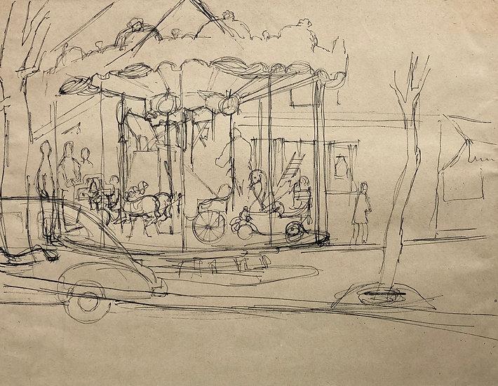 """""""Carousel in Paris"""" - Vintage 1950's Drawing"""