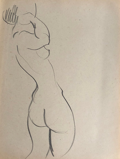 "Cesar Bolletti - Original Vintage Drawing, c.1940 - ""Female Nude Sketch"" #25"
