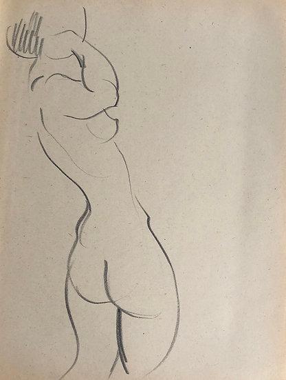 """Cesar Bolletti - Dessin Original, c. 1940 - """"Étude de Nu Féminin"""" #25"""