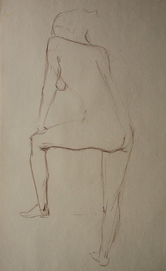 "Large Vintage Drawing, c.1950 - ""Female Nude Sketch"" #19"