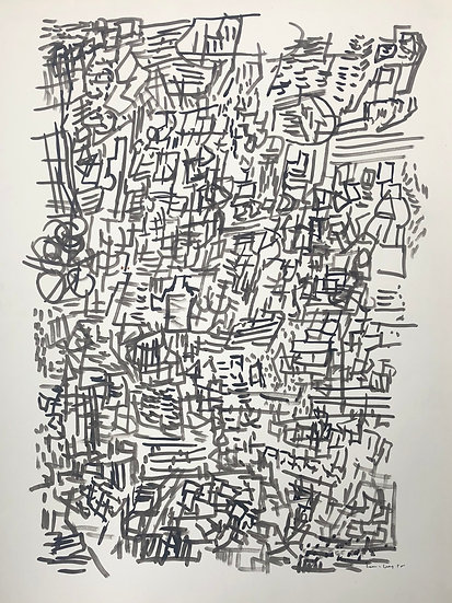 "David Lan-Bar (1912-1987) - ""Abstraction"" - Large Drawing #2"
