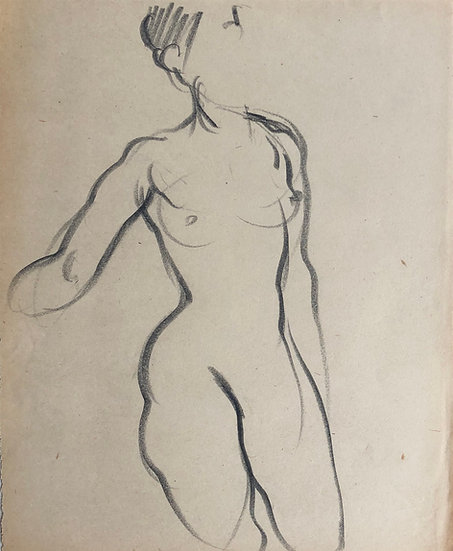 "Cesar Bolletti - Original Vintage Drawing, c.1940 - ""Female Nude Sketch"" #16"