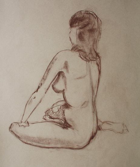 """Large Vintage Drawing, c.1950 - """"Female Nude Sketch"""" #15"""