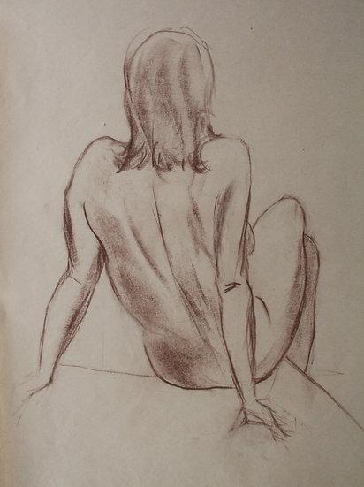 """""""Étude de Nu féminin / Femme nue"""", c.1950 - Grand Dessin au Pastel #1"""