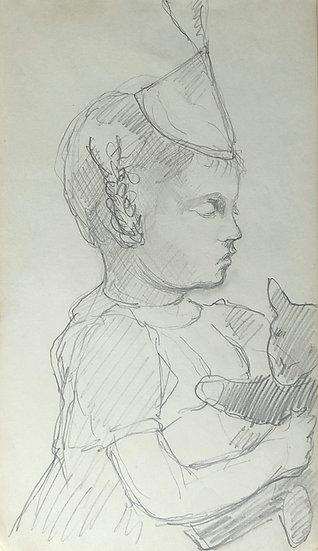 François Lanos - Original Vintage Drawing - 1950s #2