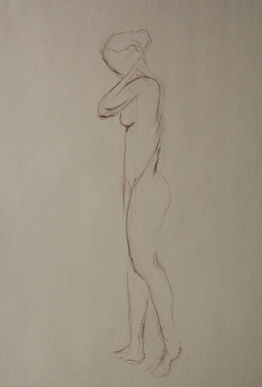 "Large Vintage Drawing, c.1950 - ""Female Nude Sketch"" #21"