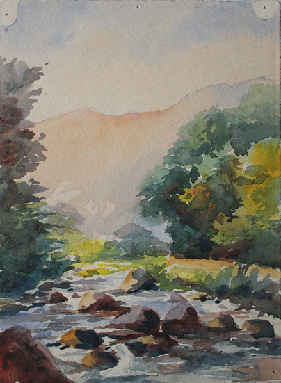 "Monique Perrot - Original Watercolor - ""French landscape : Adour in Bagneres-de-Bigorre"" Hautes-Pyrénées"