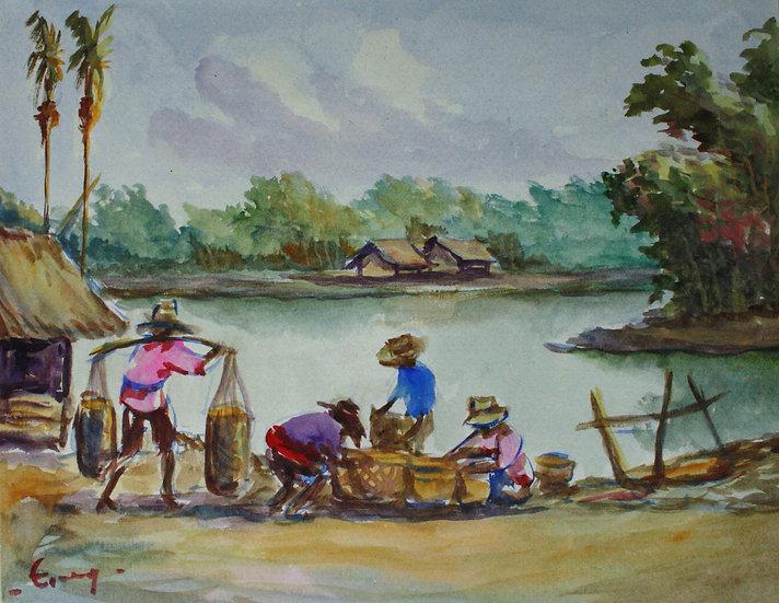 """Original Vintage Watercolor - """"South east Asia - Landscape"""""""