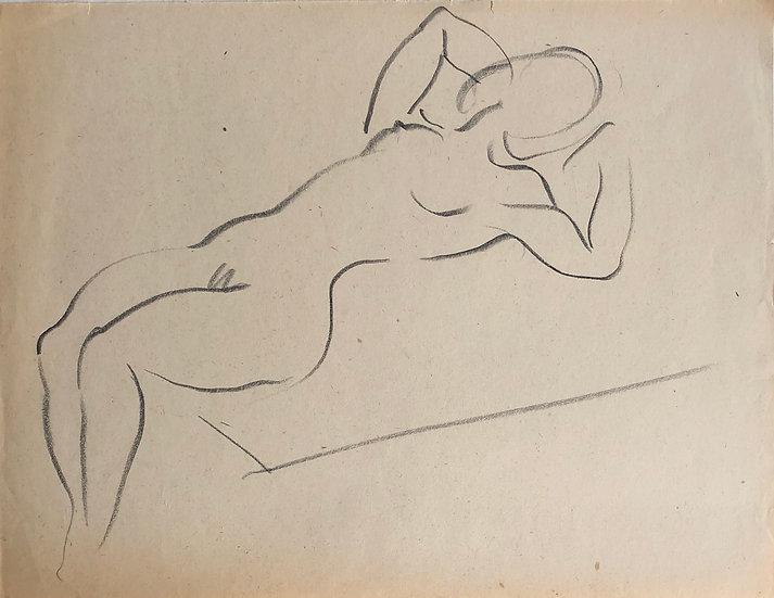 """Cesar Bolletti - Dessin Original, c. 1940 - """"Étude de Nu Féminin"""" #50"""