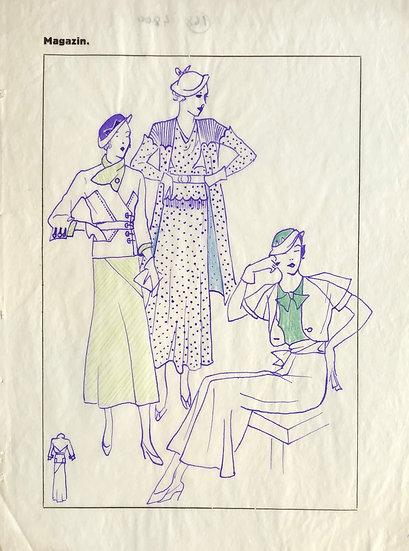 """Dessin Original, Années 1950 - """"Croquis de Mode"""" #2"""