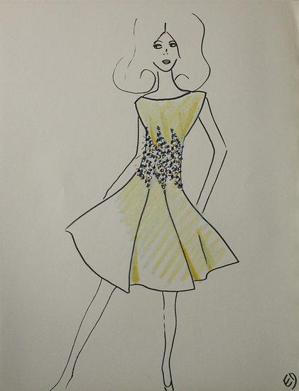 Jean Eden - Dessin original, c.1970 - Croquis Mode Femme Robe #19