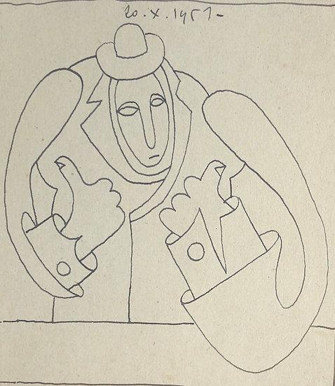 RENÉ AUDEBÈS (1922-1993) - Petit Dessin Ancien 1951 #9
