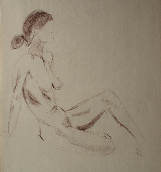 "Large Vintage Drawing, c.1950 - ""Female Nude Study"" #18"