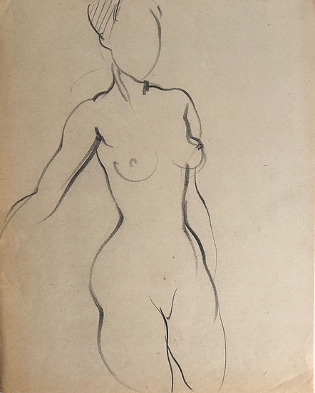 "Cesar Bolletti - Original Vintage Drawing, c.1940 - ""Female Nude Sketch"" #8"