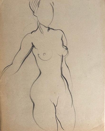 """Cesar Bolletti - Dessin Original, c. 1940 - """"Étude de Nu Féminin"""" #8"""