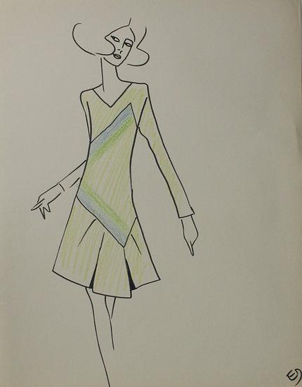 Jean Eden - Dessin original, c.1970 - Croquis Mode Femme Robe #35