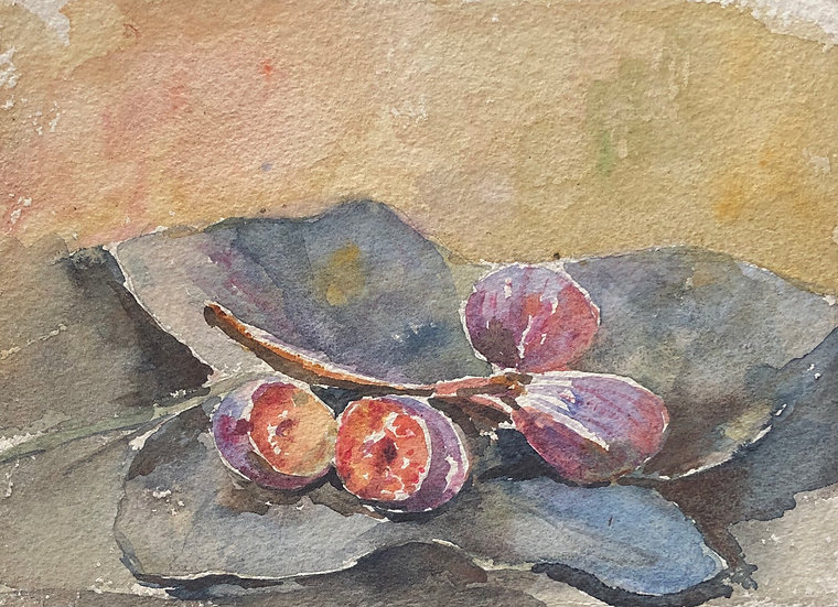 "Monique Perrot - Double-sided Watercolor - ""Still Life with Figs / Landscape"" #25"