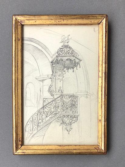 "André Nivard (1880-1969) - ""Pulpit"" - Original drawing"