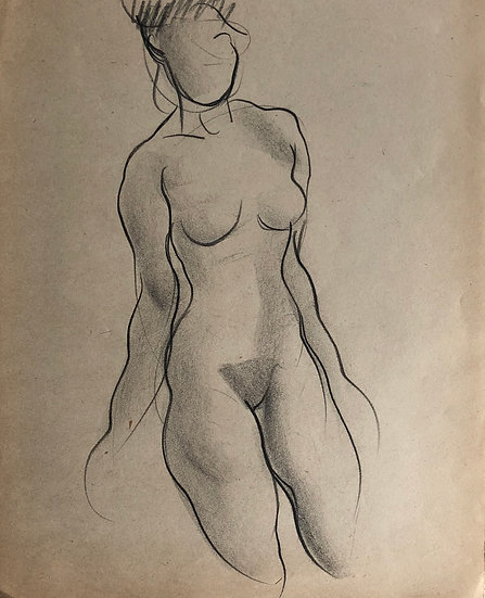 "Cesar Bolletti - Original Vintage Drawing, c. 1940 - ""Female Nude Sketch"" #9"