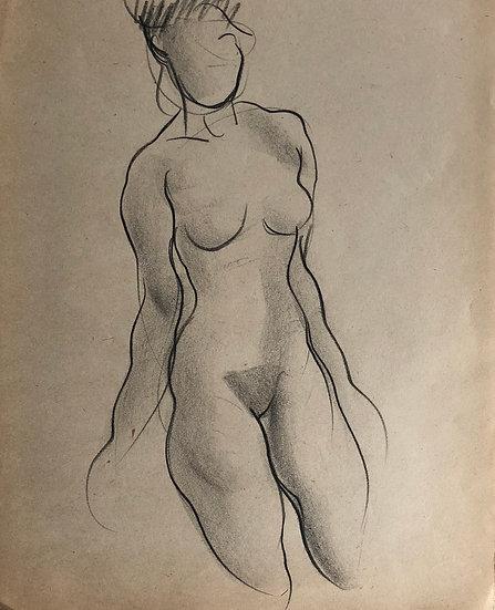 """Cesar Bolletti - Dessin Original, c. 1940 - """"Étude de Nu Féminin"""" #9"""