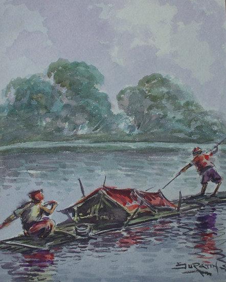 """Dedy Suratin - Original Vintage Watercolor - """"South east Asia, Landscape"""""""