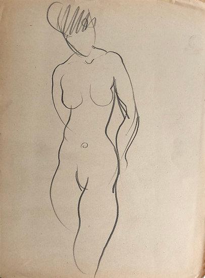 """Cesar Bolletti - Dessin Original, c. 1940 - """"Étude de Nu Féminin"""" #15"""