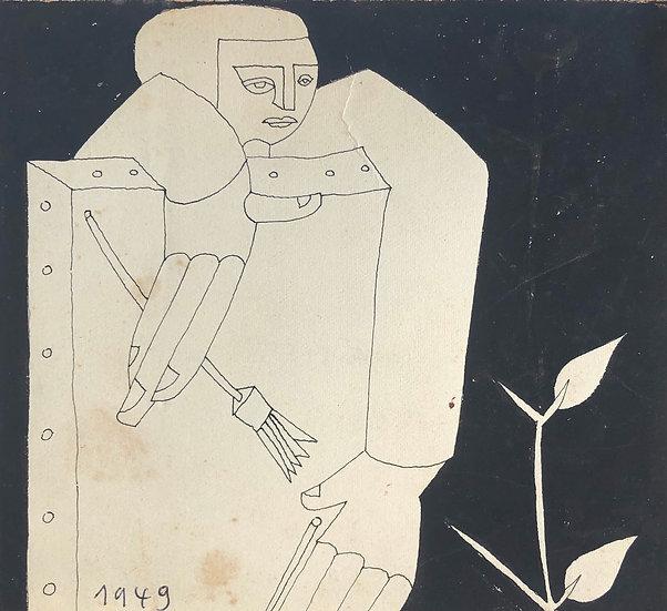 """RENÉ AUDEBÈS (1922-1993) - """"Le Peintre"""" - Dessin Ancien 1949 #20"""