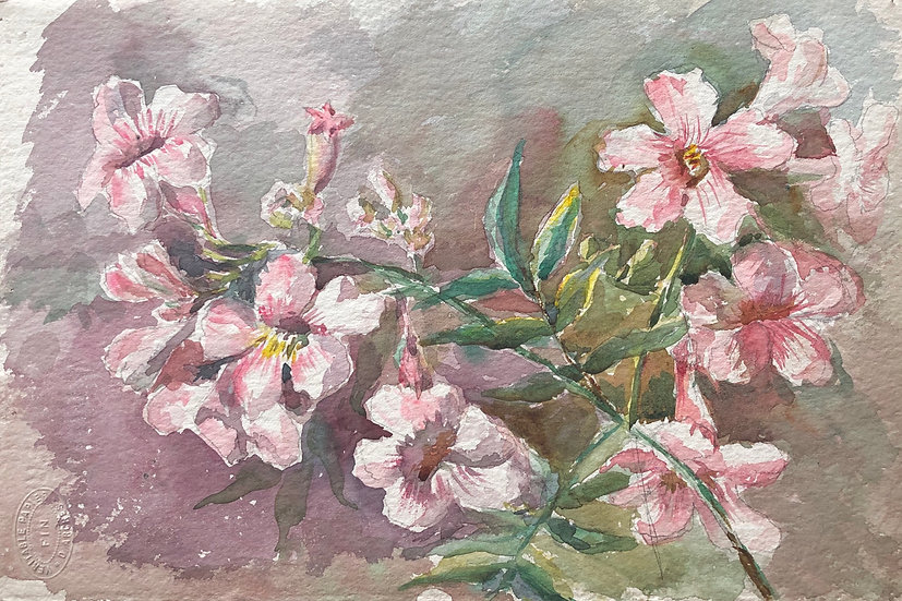 "Monique Perrot - Double-sided watercolor - ""Pink Flowers and Landscape"" #13"