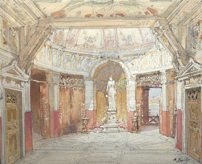 """Alexandre Bailly - Antique Watercolor - """"Theater Decor Project"""" #9"""