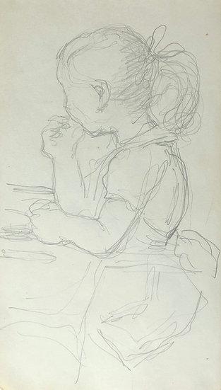 François Lanos - Original Vintage Drawing - 1950s #4