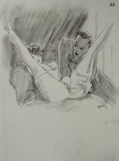 """Ludwig BOCK (1886-1971) - """"Erotic Scene"""" - Original Drawing #6"""