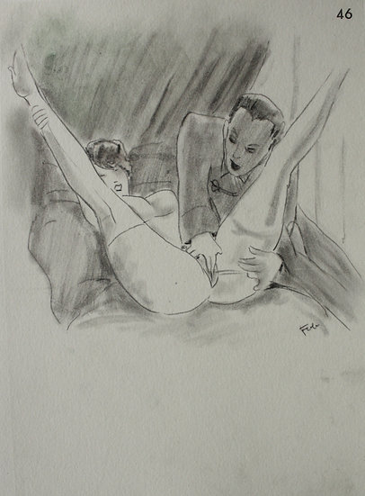 "Ludwig BOCK (1886-1971) - ""Scène érotique"" - Dessin Original #6"