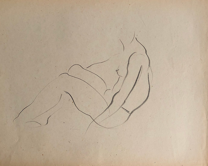 "Cesar Bolletti - Original Vintage Drawing, c.1940 - ""Female Nude Sketch"" #48"