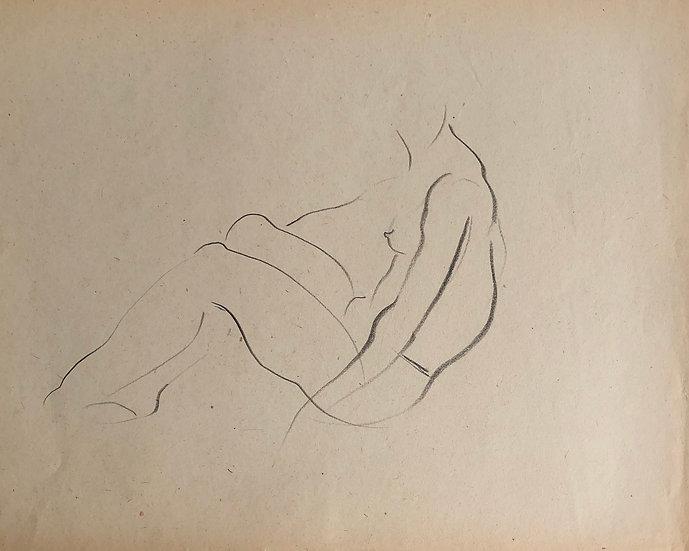 """Cesar Bolletti - Dessin Original, c. 1940 - """"Étude de Nu Féminin"""" #48"""