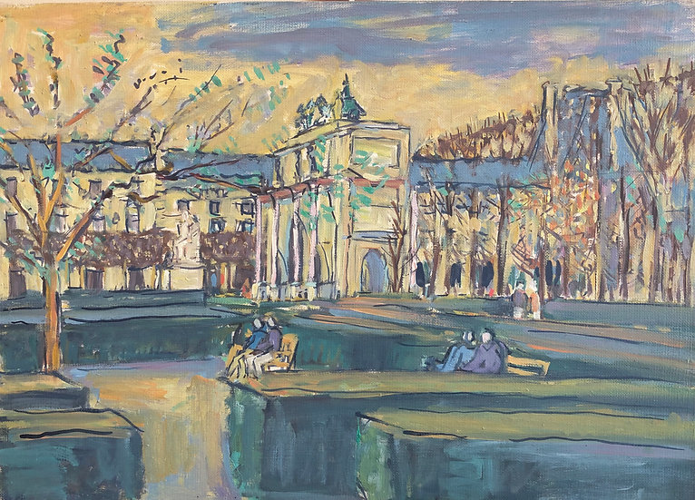 "Jean-Pierre SUCCAR - ""Paris and the Carrousel du Louvre"" - Oil Painting"