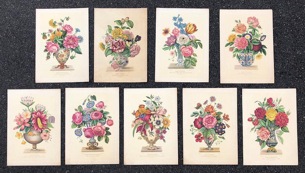 """Ensemble de 9 Estampes - """"Bouquets de Fleurs"""""""
