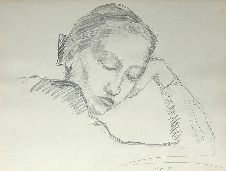 François Lanos - Original Vintage Drawing - 1966 #24