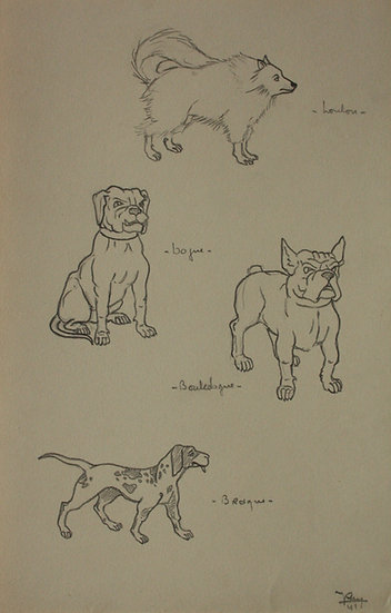 "Vintage Drawing - ""Dog Studies"" 1941 #14"