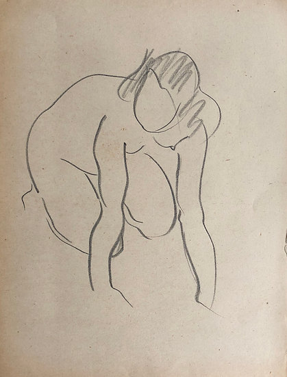 "Cesar Bolletti - Original Vintage Drawing, c.1940 - ""Female Nude Sketch"" #29"