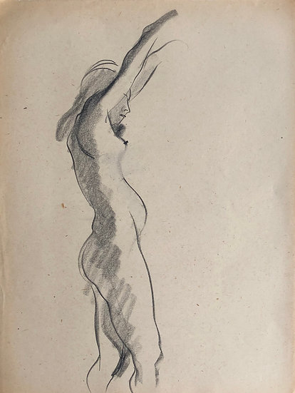 "Cesar Bolletti - Original Vintage Drawing, c.1940 - ""Female Nude Sketch"" #33"