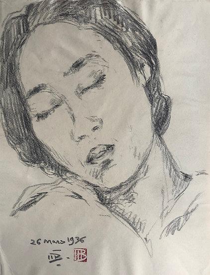 """Marcel Bernanose - Dessin """"Portrait de Femme endormie 1936"""" Indochine Vietnam #3"""