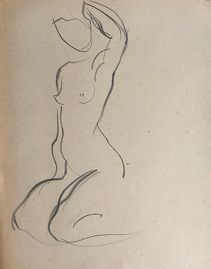 "Cesar Bolletti - Original Vintage Drawing, c.1940 - ""Female Nude Sketch"" #37"
